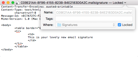 HTML email signature in Apple Mail | Dare to Think